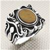 تصميم القوطية حجر بيضاوي بالجملة خاتم فضة رجالي
