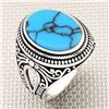 Motif and Patterned Oval Stone Wholesale Silver Men's Ring