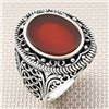 Gothic Patterned Oval Stone Wholesale Silver Men's Ring