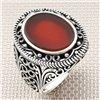 Gotik Desenli Oval Taşlı Toptan Gümüş Erkek Yüzük