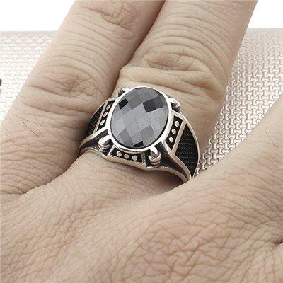 Anillo de plata al por mayor de piedra ovalada con diseño de garra para hombre
