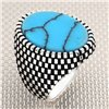 Checkered Pattern Oval Stone Wholesale Silver Men's Ring