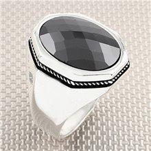 Anillo de plata al por mayor de piedra ovalada de diseño plano clásico para hombre