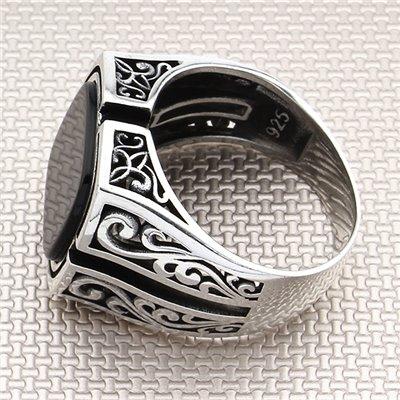 Anillo de plata para hombre al por mayor con patrón moderno y auténtico