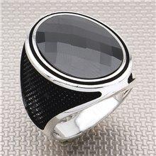 Anillo de plata para hombre al por mayor de diseño negro simple