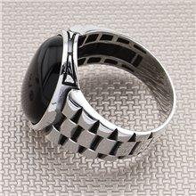 Diseño de banda de reloj Anillo de plata para hombre al por mayor