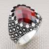 Grid Dot Design Oval Stone Wholesale Silver Mens Ring