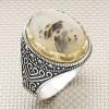 Anillo de plata para hombre al por mayor de piedra de ágata de Yemen