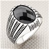 Grid Line Design Oval Stone Wholesale Silver Mens Ring