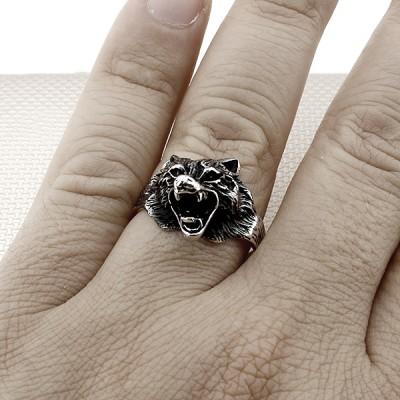 Biker Wolf Wholesale Silver Men Ring