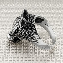 Biker Wolf Head Wholesale Silver Men's Ring