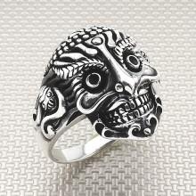 Biker Afirka Skull Wholesale Silver Men Ring