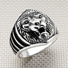 Biker Lion Head Wholesale Silver Men's Ring