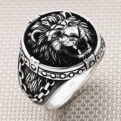 Biker Chain Lion Wholesale Silver Men Ring