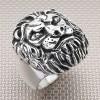 Anillo de plata para hombre con cabeza de león motorista al por mayor