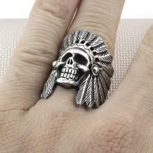 Biker Native American Skull Wholesale Silver Men Ring