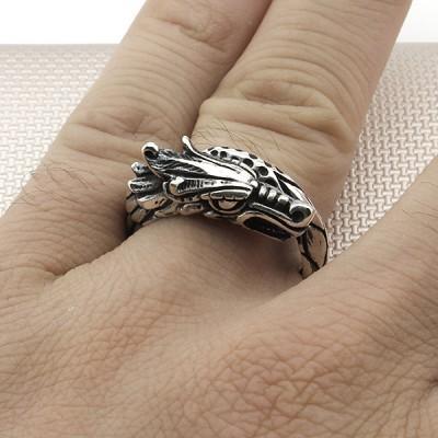 Biker Dragon Wholesale Silver Men Ring