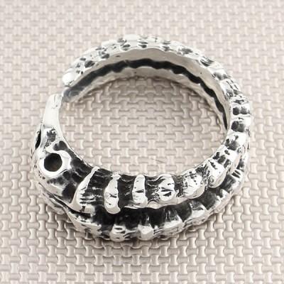 Biker Snake Skull Wholesale Silver Men Ring