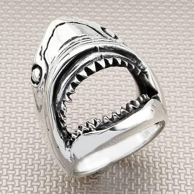 Biker Shark Wholesale Silver Men Ring