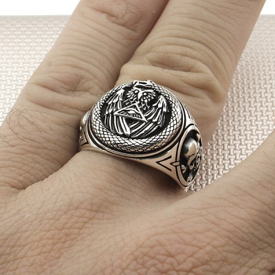 Biker Eagle Skull Wholesale Silver Men Ring