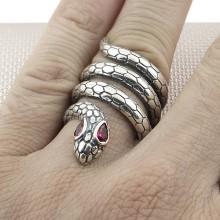 Biker Snake Wholesale Silver Men Ring