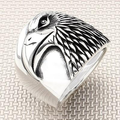 Biker Eagle Head Wholesale Silver Men Ring
