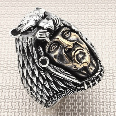Biker Tiger Indian Wholesale Silver Men Ring