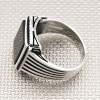 Simple Striped Square Stone Wholesale Silver Men's Ring