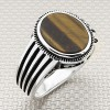 Simple Striped Oval Stone Wholesale Silver Men's Ring