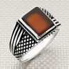 Striped and Grid Wholesale Silver Men Ring