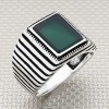 Wholesale Silver Men's Ring with Horizontal Stripes Square Stone