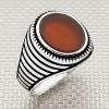 Yata Striped Oval Stone Wholesale Silver Men's Ring