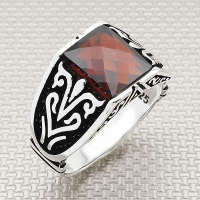 Acur Patterned Wholesale Silver Men's Ring