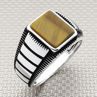 Yata Striped Wholesale Silver Men's Ring