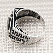 Anillo de plata al por mayor de diseño moderno para hombre