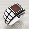 Striped Grid Model Wholesale Silver Men Ring