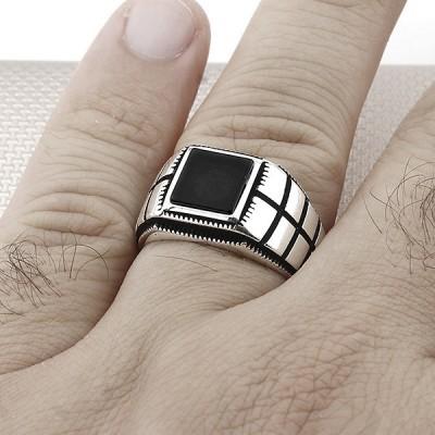 Modelo de rejilla a rayas al por mayor anillo de plata para hombre