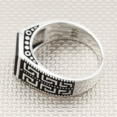Anillo de plata para hombre con estampado griego al por mayor