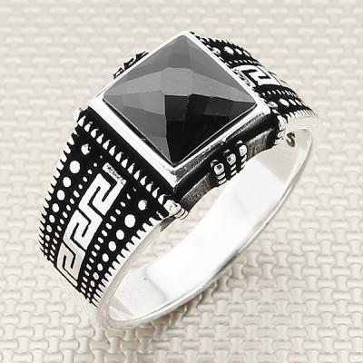 Greek Patterned Wholesale Silver Men's Ring