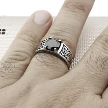 Anillo de plata al por mayor fino con patrón auténtico para hombre