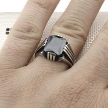 Straight Striped Square Stone Wholesale Silver Men's Ring
