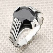 Striped Thin Wholesale Silver Men Ring