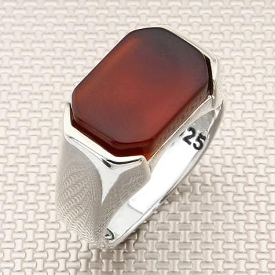 Simple Square Stone Wholesale Silver Men Ring