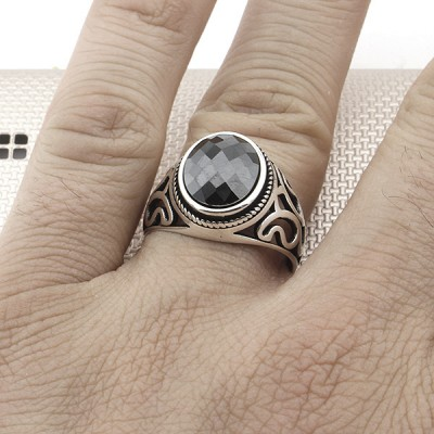 Patterned Wholesale Silver Men's Ring