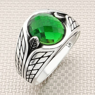 Patterned Convex Stone Wholesale Silver Men's Ring
