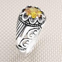 Striped and Patterned Wholesale Silver Men's Ring
