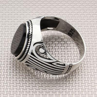Anillo de plata para hombre al por mayor con patrón auténtico