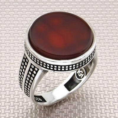 Thin Design Round Stone Wholesale Silver Men Ring