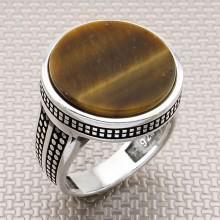 Anillo de plata al por mayor de piedra redonda de diseño fino para hombre