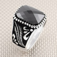 Wholesale Silver Men's Ring with Leaf Motif